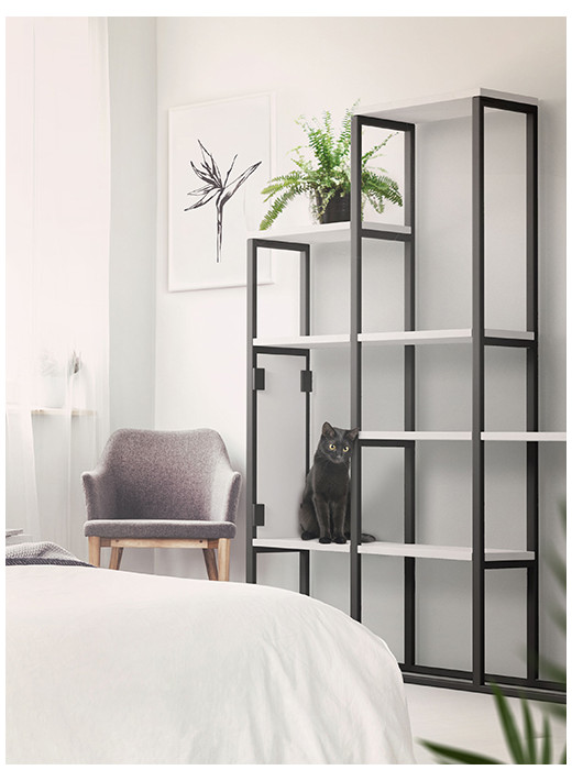 SKEL - Multifunctional bookcase with scratching panels (white shelf color)