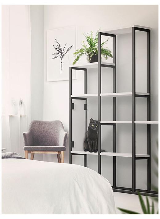 SKEL - Rayonnage multifonctionnel avec la fonction d'un grattoir avec étagères laquées blanches